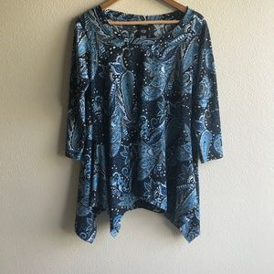 Premise Women's Large Blue Paisley 3/4 Sleeve Top